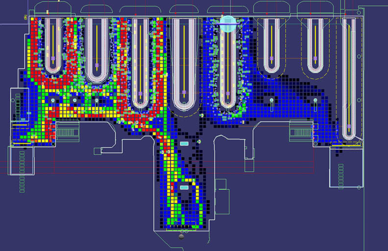 Airport Terminal Simulation Heat Map